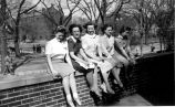Women sitting at Library Mall