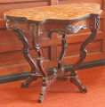 Center table with marquetry top, possibly Beaver Dam area, mid-nineteenth century.