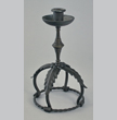 Wrought iron and brass candlestick, Cyril Colnik, Milwaukee, first half of the twentieth century.