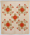 """Appliquéd quilt in """"Whig Rose"""" pattern, possibly Grignon family, Kaukauna, mid-nineteenth century."""